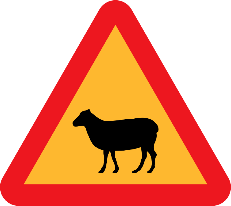 Warning Sheep Roadsign by ryanlerch - A sign warning of sheep.