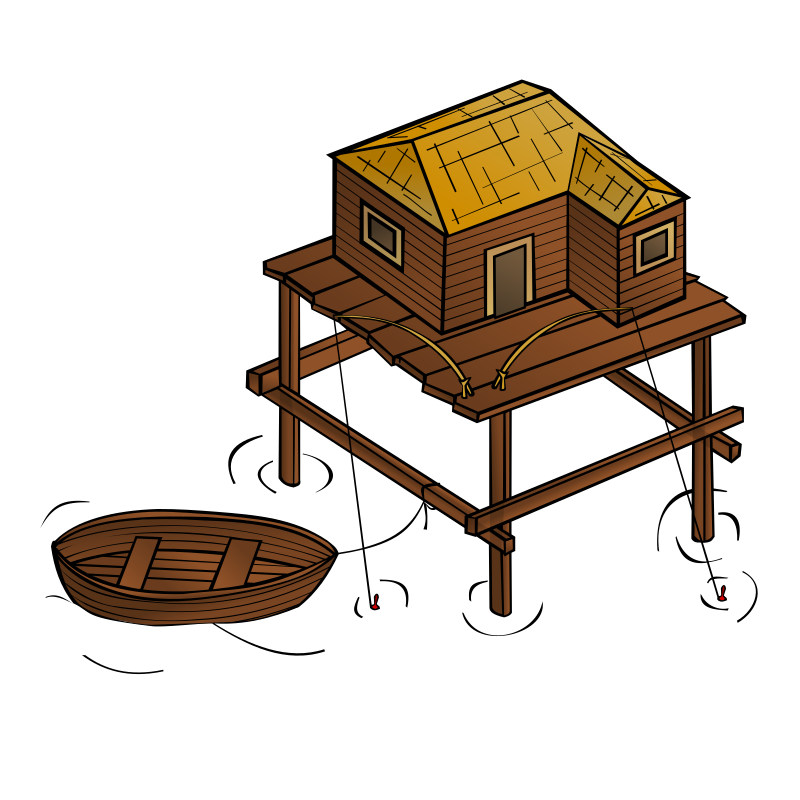 RPG map symbols: Fishery by nicubunu - Part of the fantasy RPG map elements collection (houses and various buildings): a fisherman house
