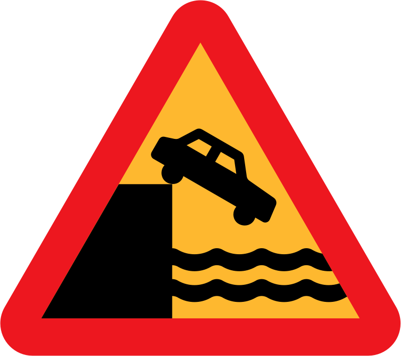 dont drive over a cliff into the ocean by ryanlerch - Swedish Road Signs Collection on Wikicommons - 