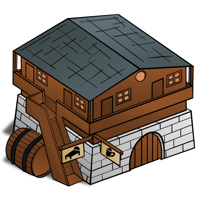 RPG map symbols: Inn by nicubunu - Part of the fantasy RPG map elements collection (houses and various buildings): an inn