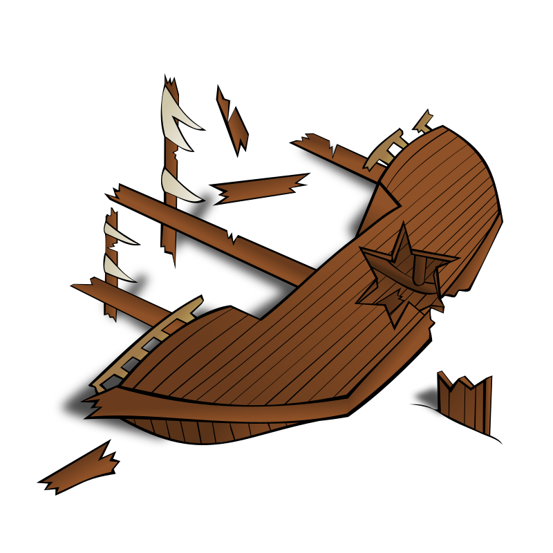 RPG map symbols: Shipwreck by nicubunu - Part of the fantasy RPG map elements collection (houses and various buildings): a wrecked ship