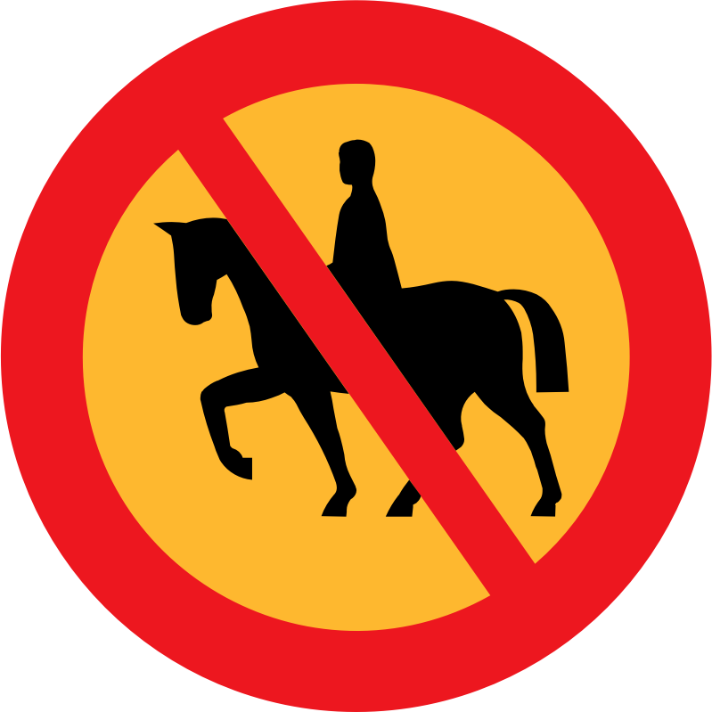 No horse riding sign by ryanlerch - A sign depicting that riding horses is not allowed.