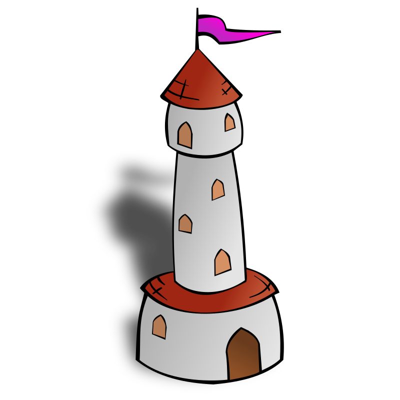 RPG map symbols: Round Tower with Flag by nicubunu - Part of the fantasy RPG map elements collection (houses and various buildings): a round tower with flag