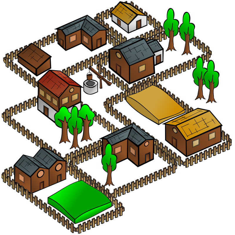 RPG map symbols: Village by nicubunu - Part of the fantasy RPG map elements collection (houses and various buildings): a small village