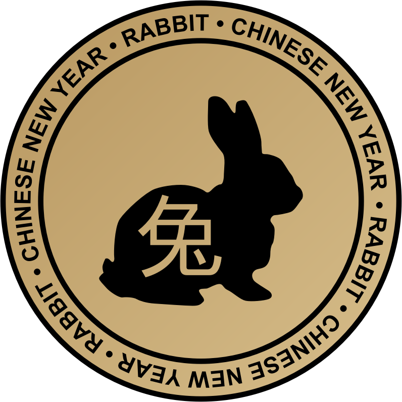 Chinese new year emblem by kuba - Chinese new year (Rabbit) circle beige gradient emblem.