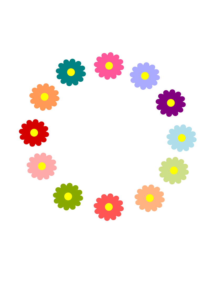 Rainbow Flower Wreath by cuteeverything - This was fun to make!  I hope you can use it for something!