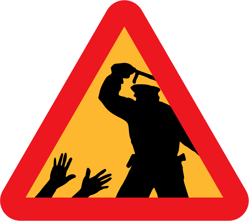 Warning for police brutality by liftarn - Warning sign for police brutality.