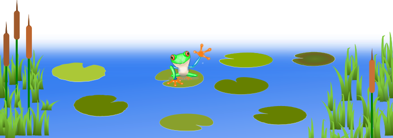 Frog On Bluish Pond by schugschug - Basic Pond Scene, with happy frog Sonny on a lilypad.