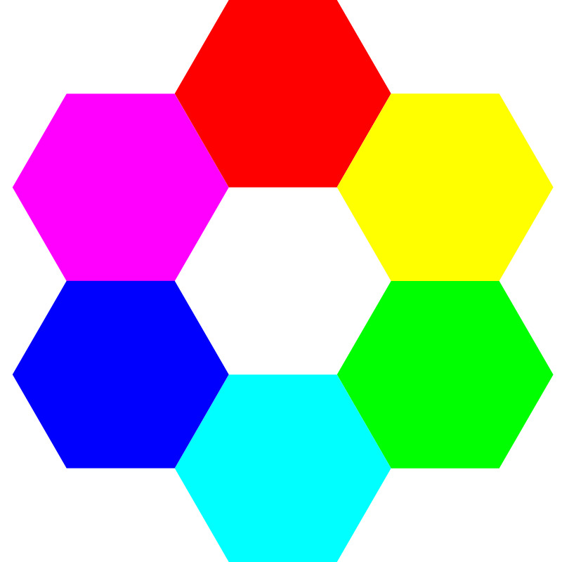 6 color hexagons by 10binary - the 6 supreme colors
