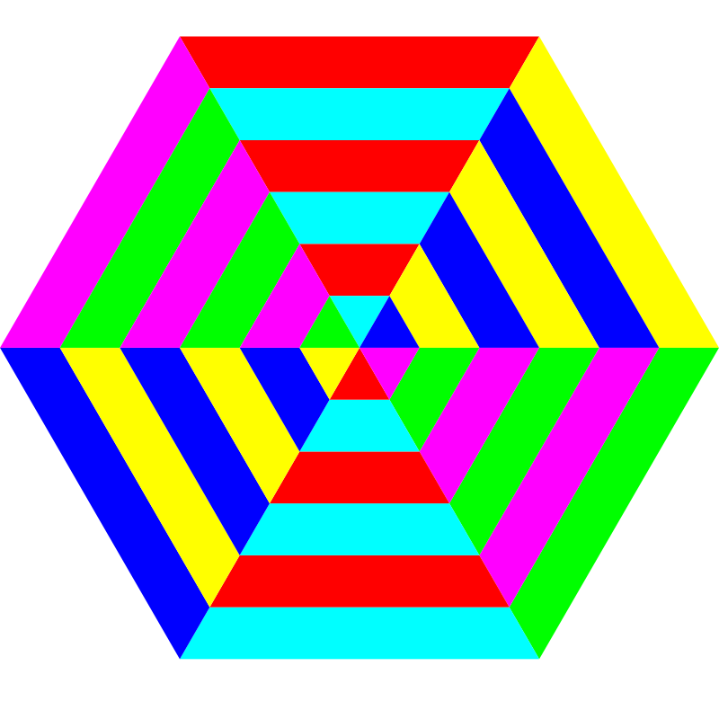 hexgon triangle stripes by 10binary - A rearrangement of the previous hexagon.