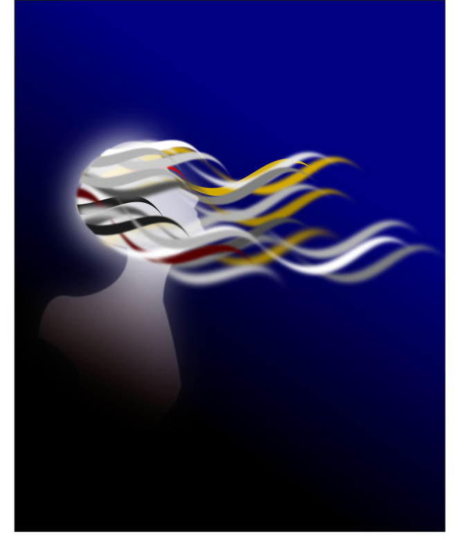 Peace and Liberty by Merlin2525 - A silhouette of a woman with her hair blowing with the wind, dreaming of peace and liberty. Drawn with Inkscape.