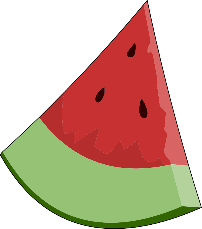 Watermelon Slice Wedge by Fitzillo - A Cartoon picture of a slice of watermelon wedge.