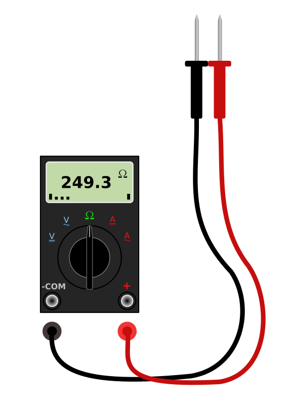 Digital Multimeter with Leads by bnielsen - A simple digital multimeter with leads. You can delete the leads and use just the meter or edit the SVG and plug the leads into the meter.