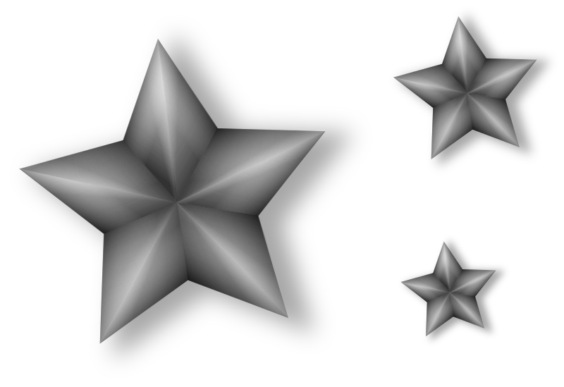 3 Metal Stars with Transparency by Merlin2525 - 3 transparent stars with shading to give a 3d metal grunge look. Drawn with Inkscape.