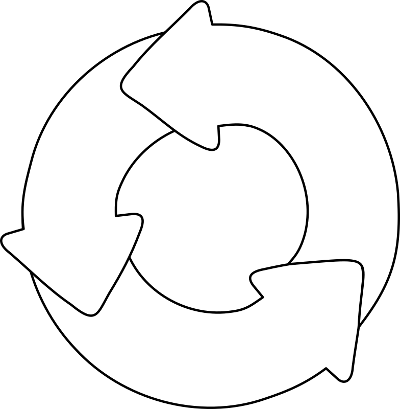 Cycle by lmproulx - Recycling symbol in black and white.