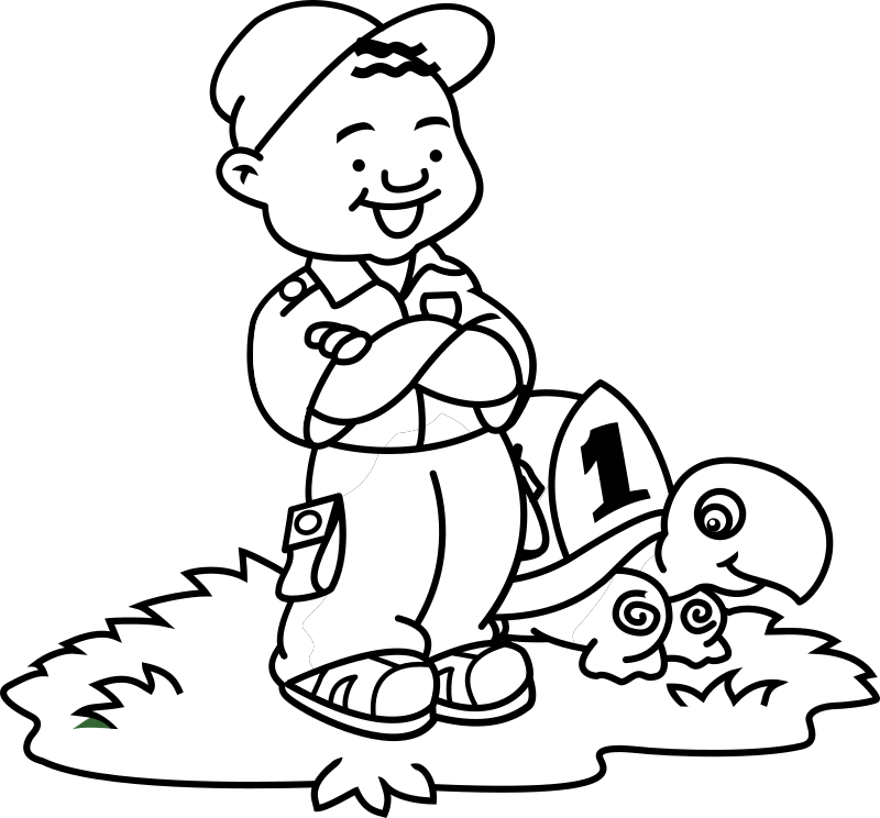 Boy and Turtle 1 by FunDraw_dot_com - simple cartoon of a boy with his turtle