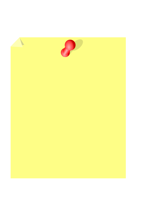 Post it note by kevie - A post it style piece of note paper with a red tack and a pig-eared corner