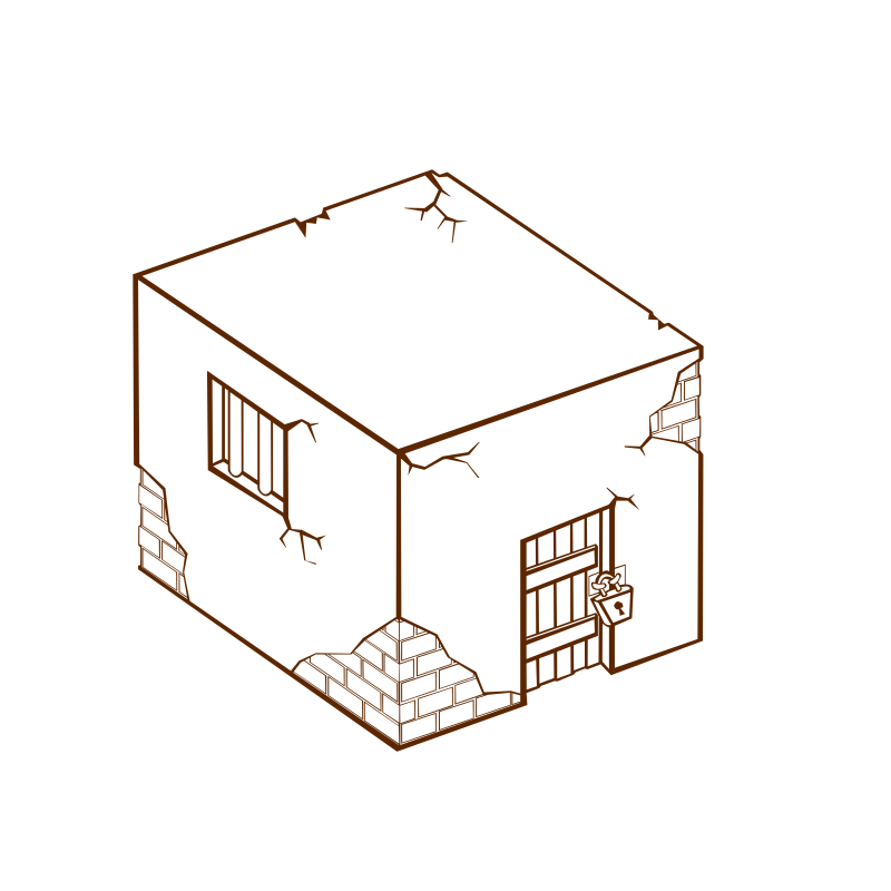 RPG map symbols: Jailhouse by nicubunu - Part of the fantasy RPG map elements collection (houses and various buildings): a Jail House