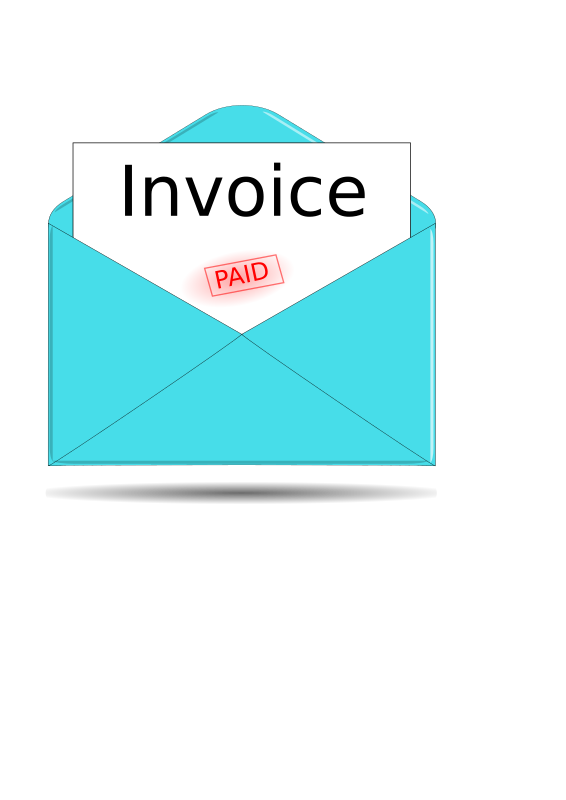 Invoice by kevie - An envelope with an invoice sticking out and a red 'paid' stamp