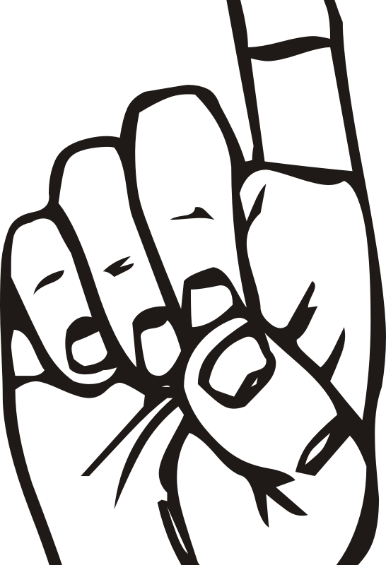 Sign language D, finger pointing by liftarn - From http://commons.wikimedia.org/wiki/Image:Sign_language_D.svg