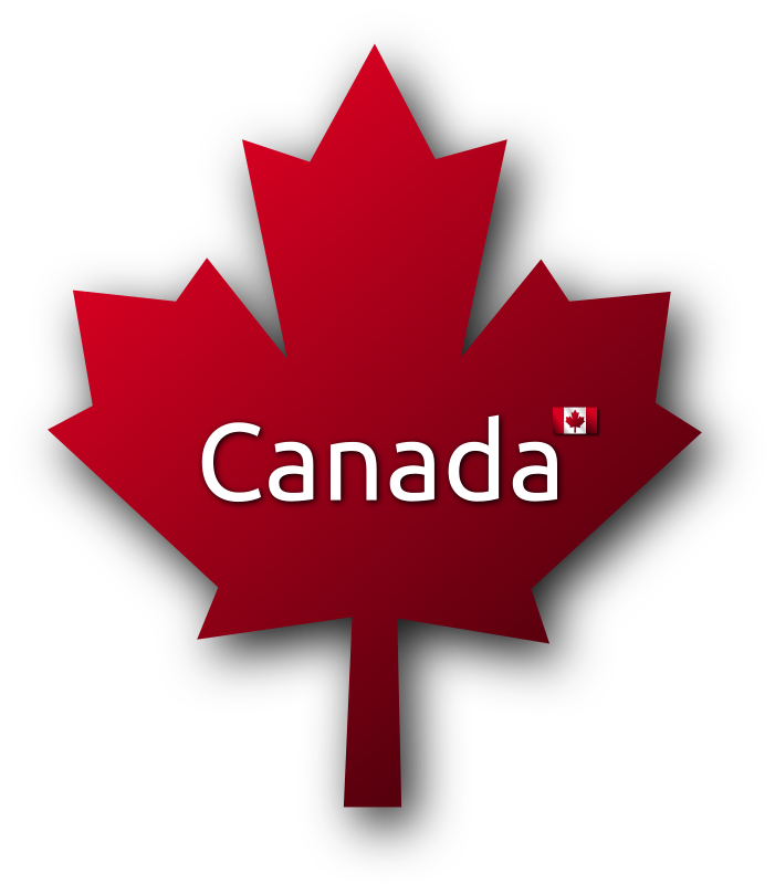 Maple Leaf 3 by Merlin2525 - A Red Canadian Maple Leaf with the word Canada in the centre and a Canadian Flag. Drawn with Inkscape.