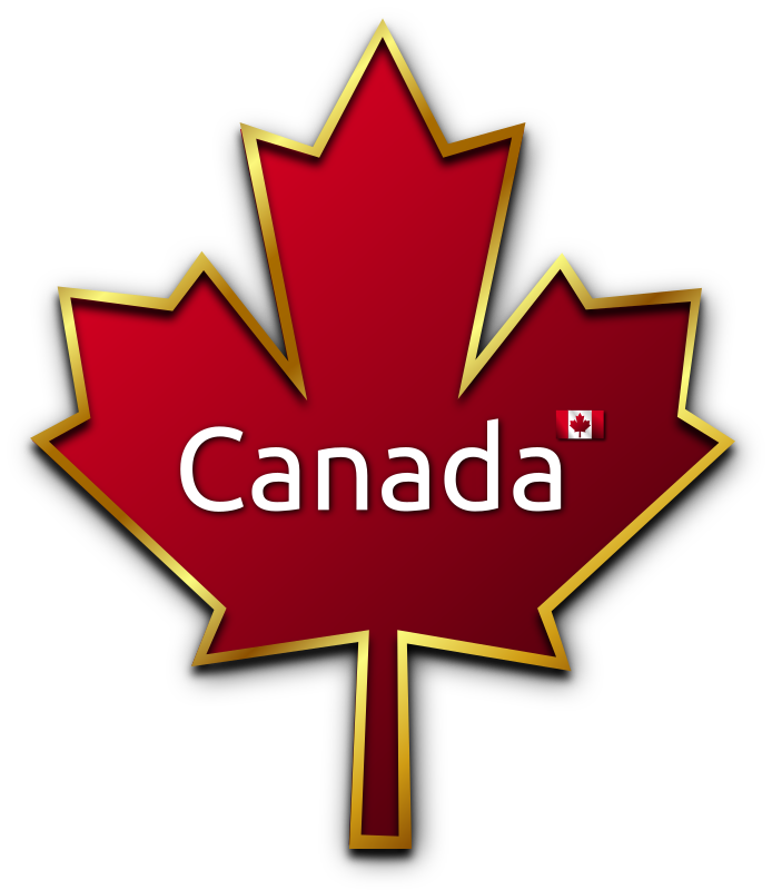 Mapel Leaf 4 by Merlin2525 - Red Canadian Maple Leaf with Gold Trim and Shadow.The word Canada and Canadian Flag in centre. Drawn with Inkscape.