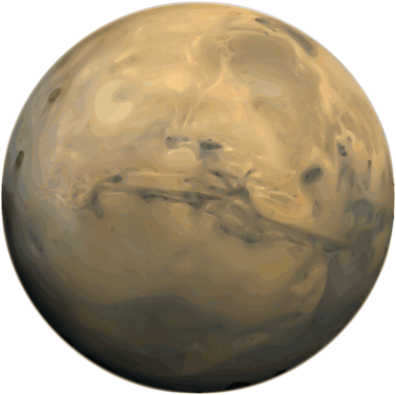 Mars by Merlin2525 - A Trace of bitmap public domain image of the planet Mars. Original file is from en.wikipedia.org/wiki/File:Mars_Valles_Marineris.jpeg The Gimp was used clean up image & to reduce colours, scale. The Inkscape function of simplify path  & no blur was used.