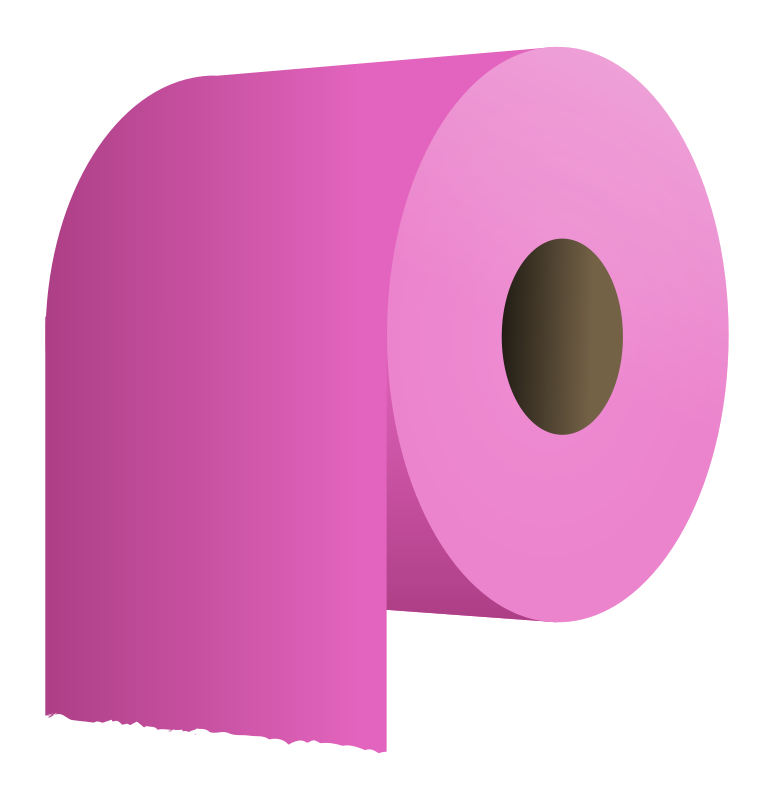 toilet paper roll by molumen - a pink roll of toilet paper