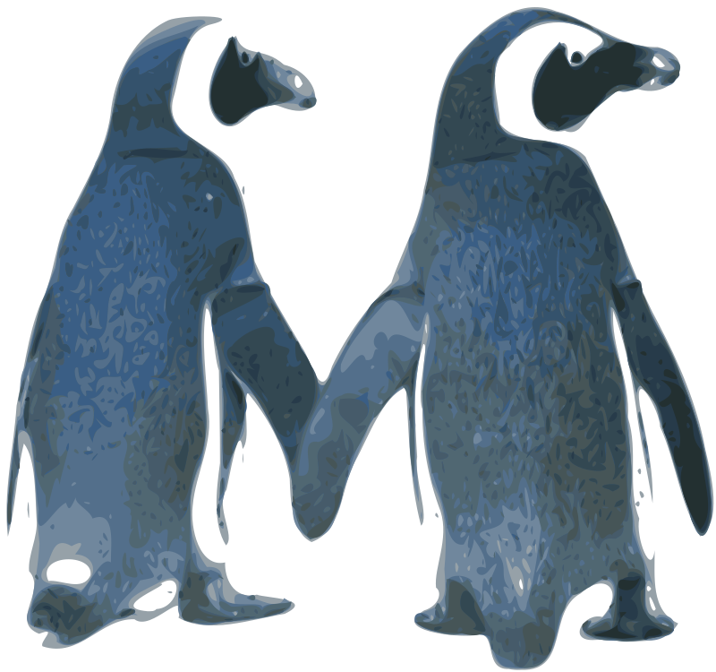 Tux Love by Merlin2525 - Two Penguins arranged to look like they are holding hands. Bitmap Trace of public domain image that can be found at http://www.public-domain-image.com/fauna-animals-public-domain-images-pictures/birds-public-domain-images-pictures/penguins-in-zoo.jpg.html
