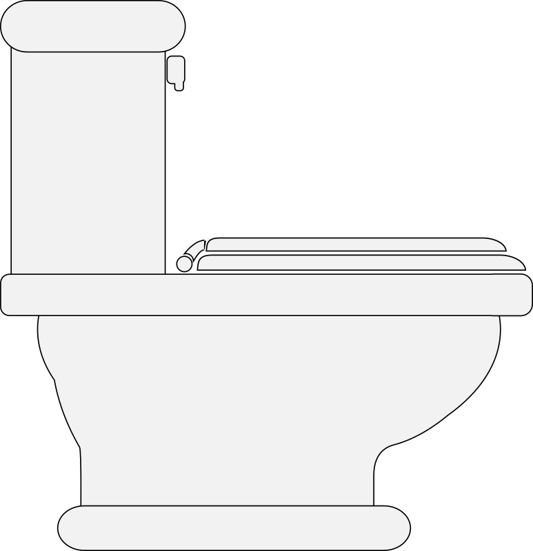 Toilet (Seat Closed) by mako - An outline drawing of a toilet, in profile, with the seat lid down.