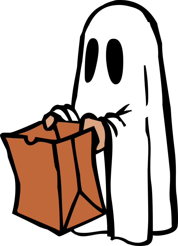 Ghost with bag (colour) by liftarn - Based on http://www.dafont.com/helloween-version2.font