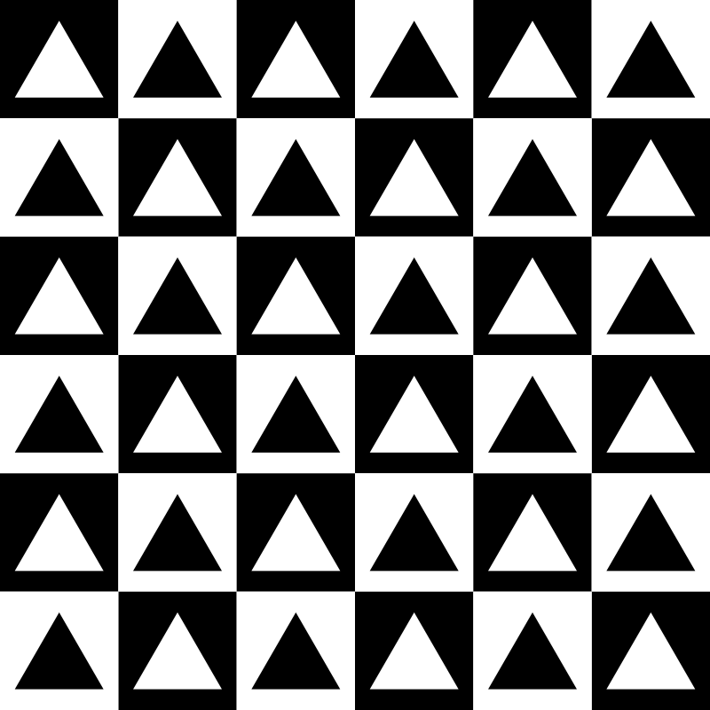 triangles inside chessboard by 10binary - I could put any shape inside the squares!