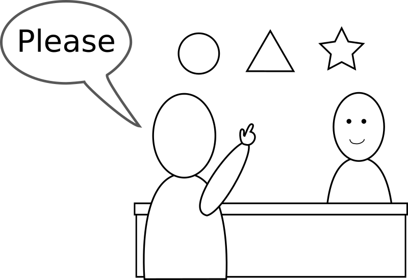 "Please by evilestmark - A stick figure asking a shopkeeper for a triangle from a choice of circle, triangle, and star.  A speech bubble includes the English word, ""Please""."