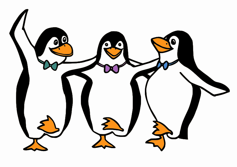 Dancing Penguins by Moini - Three happy penguins with coloured bow ties dancing the syrtaki