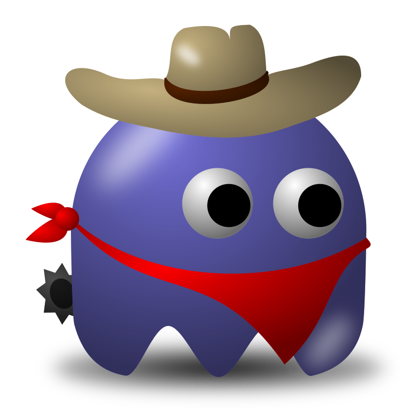 Game baddie: Cowboy by nicubunu - Bad guy for arcade games, inspired from the classic Pac-Man: a cowboy