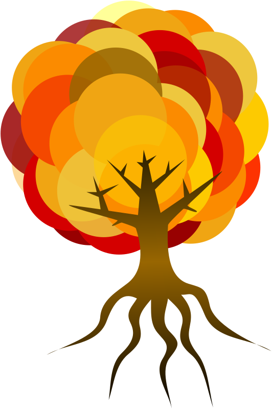 Simple Tree 3 by Merlin2525 - Simple Tree with Fall colours for the Circles. Reduced opacity for some circles. Drawn with Inkscape.