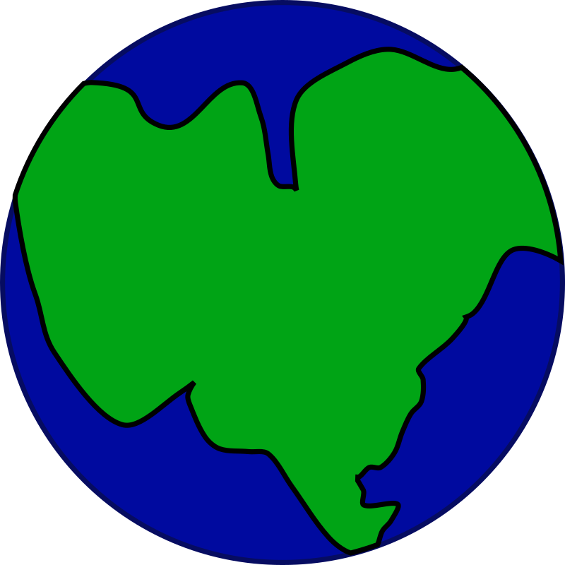 Earth with one continent by jonadab - Earth originally had one large continent and one large sea.