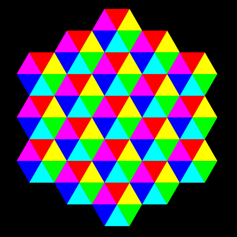 triangle tessellation 6 color by 10binary - I haven't done many triangle tessellations that have more than black and white so far.