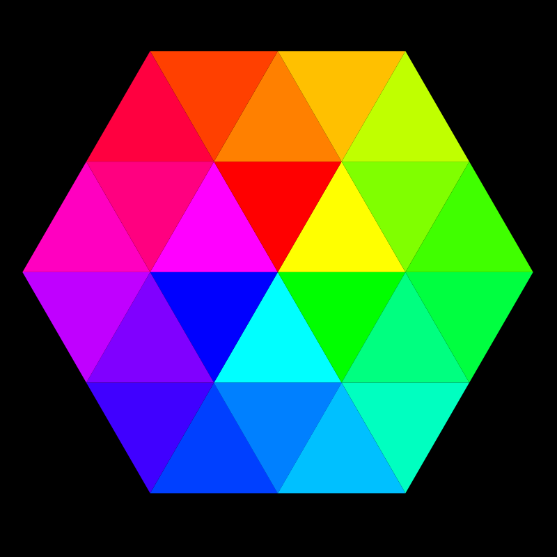 24 color hexagon by 10binary - This is the best I could do at fitting my 24 color palette into a hexagon. It's made of 24 triangles.