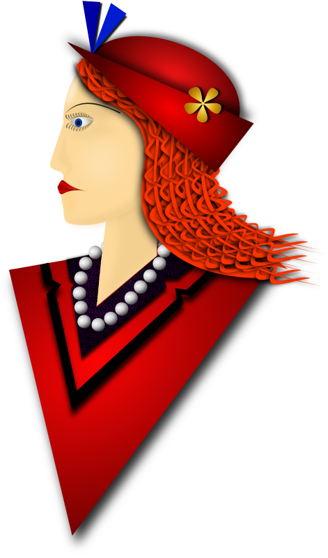 Elegance 2 by Merlin2525 - A remix of the drawing I made of an Elegant Lady. The coat and hat are red, braided hair, fashionable hat, pearl necklace, flowery detail on shirt collar. Drawn with Inkscape.
