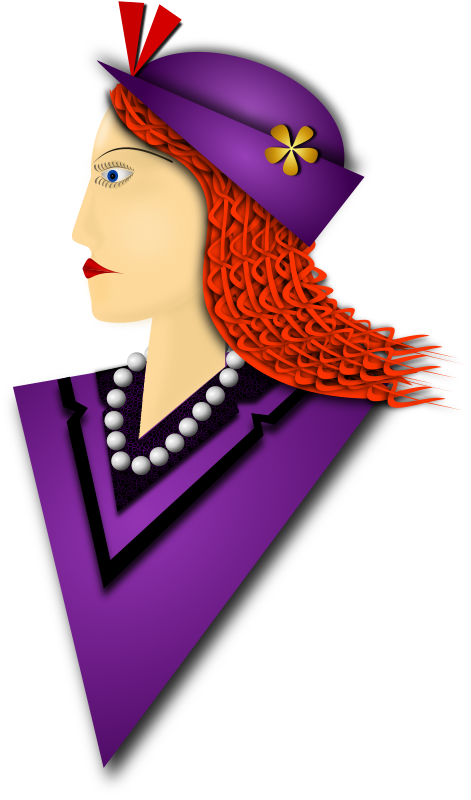 Elegance 3 by Merlin2525 - A remix of the drawing I made of an Elegant Lady. The coat and hat are Purple, braided hair, fashionable hat, pearl necklace, flowery detail on shirt collar. Drawn with Inkscape.