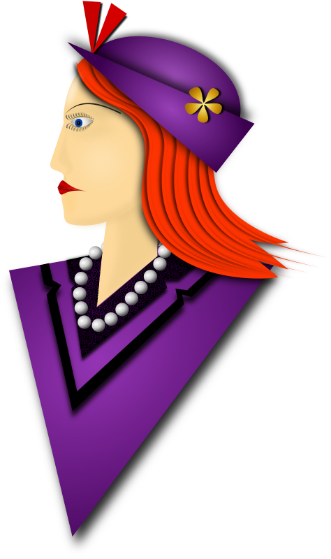 Elegance 4 by Merlin2525 - A remix of the drawing I made of an Elegant Lady. The coat and hat are Purple, straight hair, fashionable hat, pearl necklace, flowery detail on shirt collar. Drawn with Inkscape.