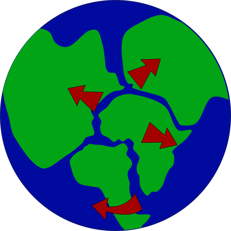 Earth with continents breaking up by jonadab - At the time of the flood, the world's geography was changed.  Ocean basins deepened, the land broke up, and the pieces began to drift apart...
