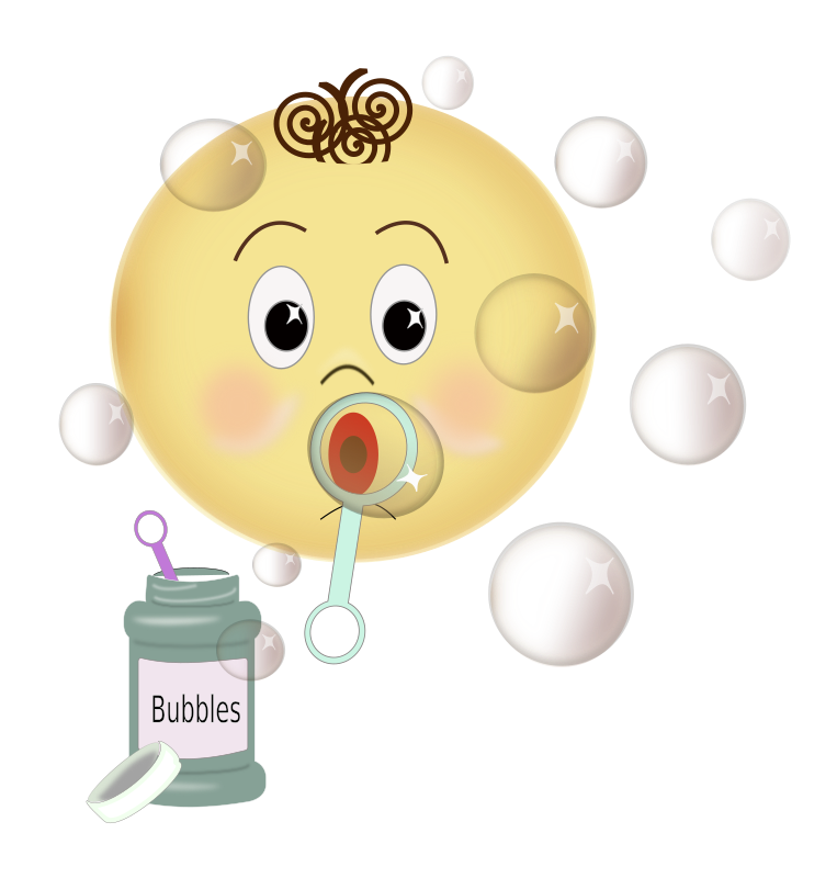 Blowing Bubbles by laurianne - Cartoon of child blowing bubbles, along with container of bubbles and bubble wand.