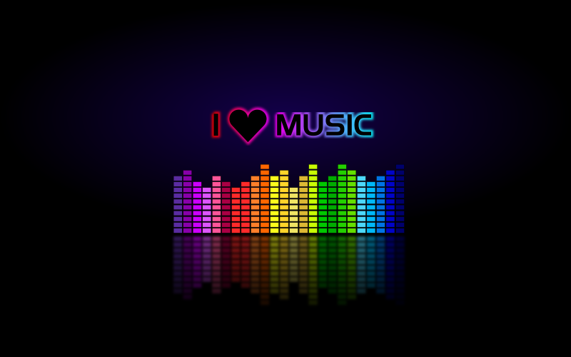 "I LOVE MUSIC (Wallpaper) by mystica - Created a wallpaper of ""Music Equalizer"" made by Merlin2525. It's also availble on Gnome-look website!"