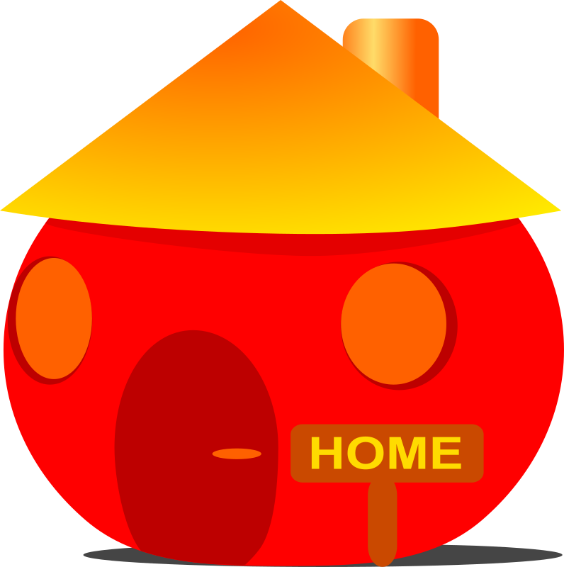 Home by Anonymous - A red and round home with a yellow roof and a home sign.