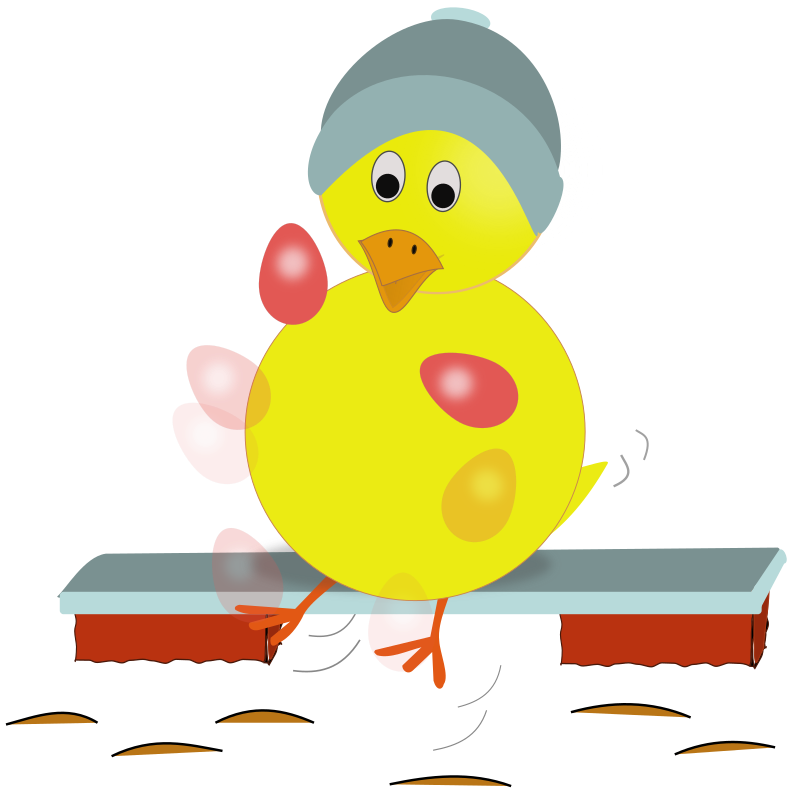 Easter Chick Kicking Eggs by laurianne - Here is a yellow Easter chick with a blue hat kicking (or juggling) Easter eggs.