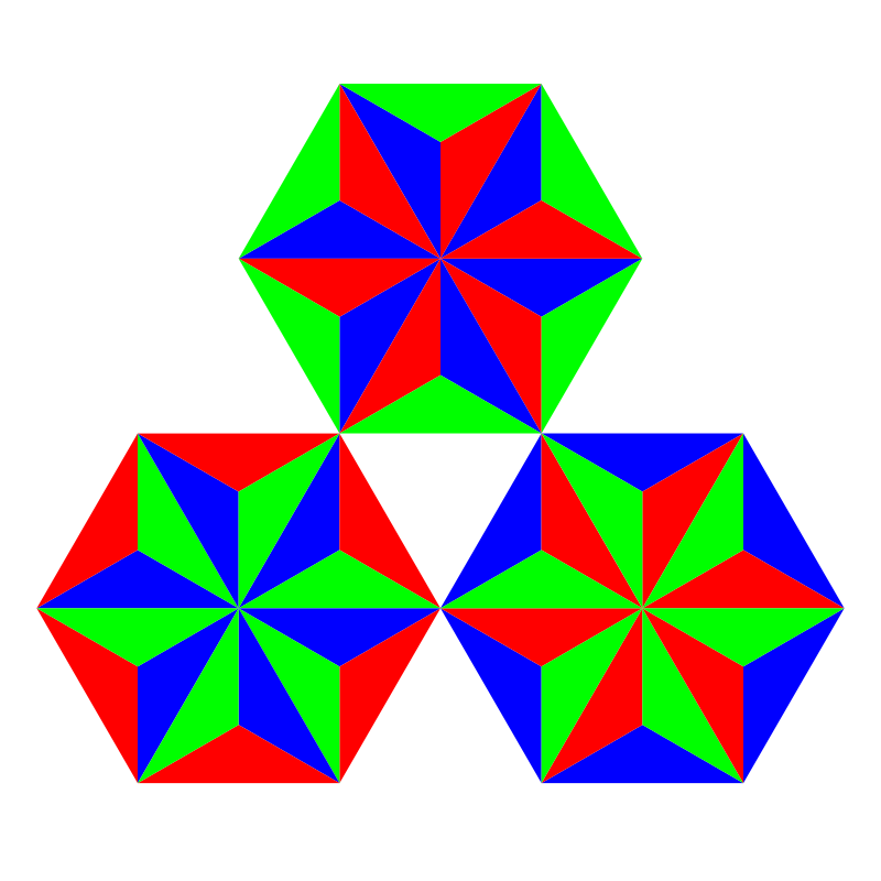 thirds of triangles by 10binary - These are made of thirds of regular triangles. I made 3 hexagons with hexagrams inside.