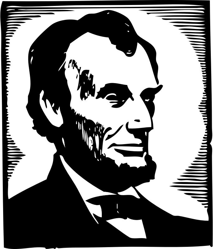 "Abraham Lincoln by johnny_automatic - a woodcut style image of US president Abraham Lincoln from ""Scan This Book"""