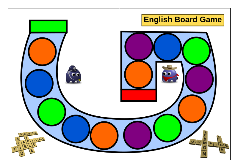 "Game Board by evilestmark - Titled ""English Board Game"" because I made it for use with an English class.  General use with any rules, color coded tiles along the letter G."